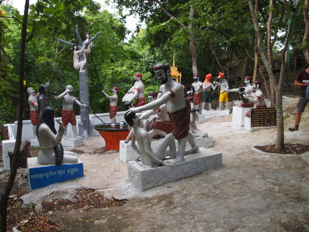 Darstellung der Hölle. Angeblich wurden diese Abbildungen kopiert und von der Darstellung der roten Khmer entfremdet.